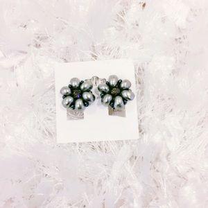 Gray Faux Pearl Clip On Earrings